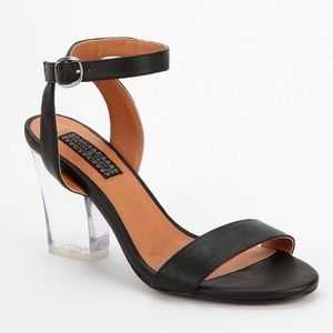 Deena and Ozzy Black Sandal with Lucite Heel